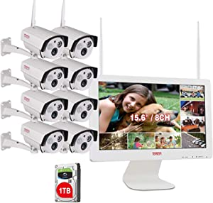 【2 Way Audio】 All in One with 15.6inch Monitor 1080P Security Camera System Wireless,Tonton 8CH Outdoor Home Camera System(1TB Hard Drive),8pcs 2.0MP Bullet IP Cameras,Free APP,PIR Sensor