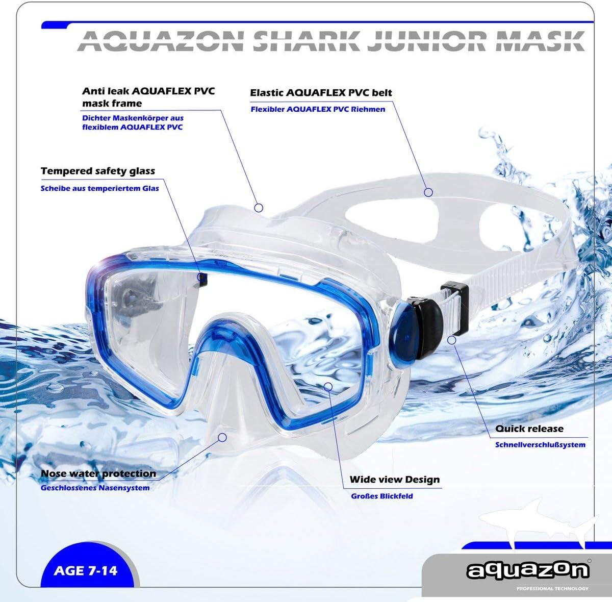 Vidrio Templado AQUAZON Beach Junior Medium Gafas de esn/órquel Gafas de nataci/ón j/óvenes de 7 a 14 a/ños Gafas de Buceo Gran Ajuste Muy Robusto m/áscara de Buceo para ni/ños