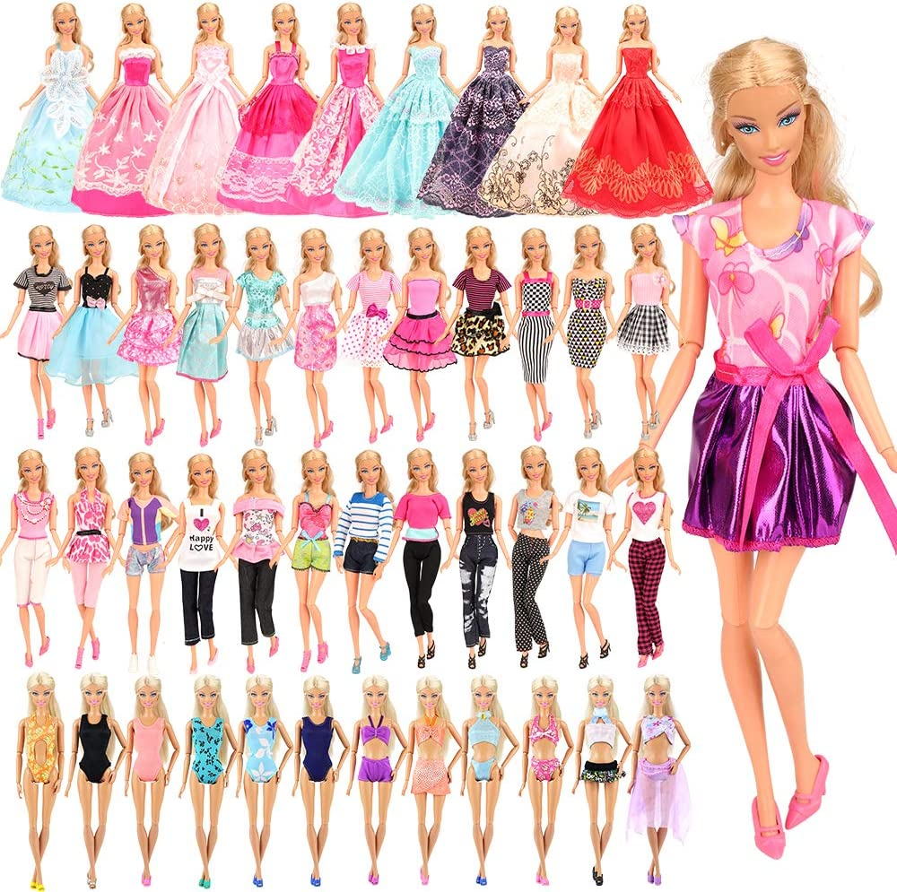 BARWA 16 Pack Doll Clothes and Accessories 5 PCS Fashion Dresses 5 Tops 5 Pants Outfits 3 PCS Wedding Gown Dresses 3 Sets Swimsuits Bikini for 11.5 inch Doll