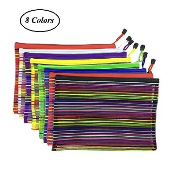 SAIYU Carpeta de Carpetas A4 Bolsas de Malla con Cremallera Bolsas de Carpetas de Documentos de Papel Zip para Bolsas de Oficina de Oficina de ...