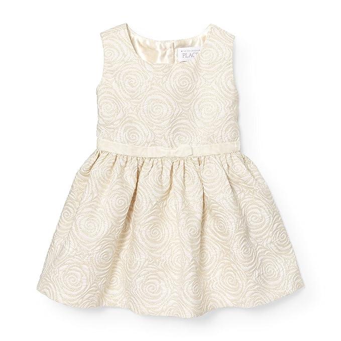 6527d694e86a The Children's Place Baby Little Girls' Rose Jacquard Dress, Snow 88449, ...