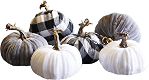 winemana Thanksgiving Decorations Artificial Pumpkin, Set of 6 Foam Lint Pumpkins 3 Colors Fall Autumn Decor for Fireplace Kitchen Thanksgiving Party Harvest Day