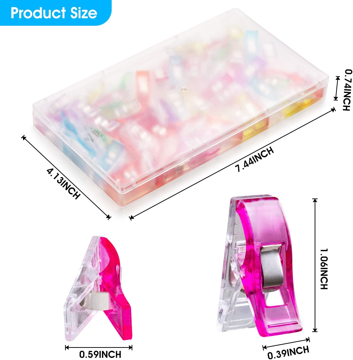 Wth a Square Box 50 PCS Multipurpose Sewing Clips for Fabric Colorful Plastic Wander Clips for Sewing Quilting Crafting Knitting