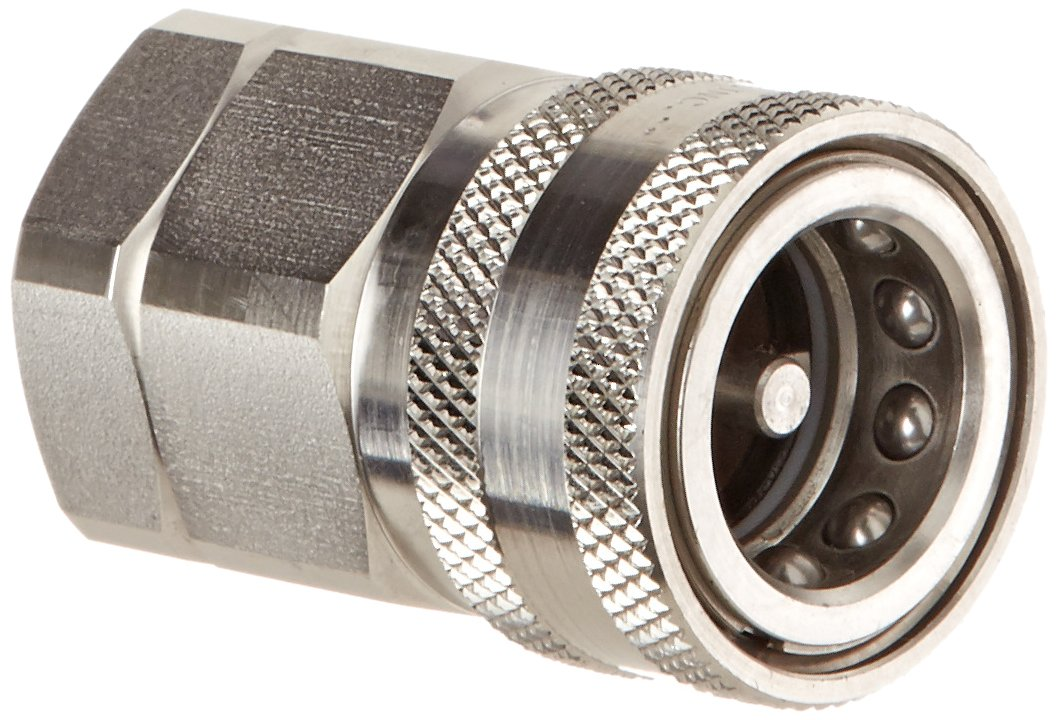 Snap-Tite SVHC12-12F Stainless Steel 316 H-Shape Quick-Disconnect Hose Coupling, Sleeve-Lock Socket, 3/4'' NPSF Female x 3/4'' Coupling Size
