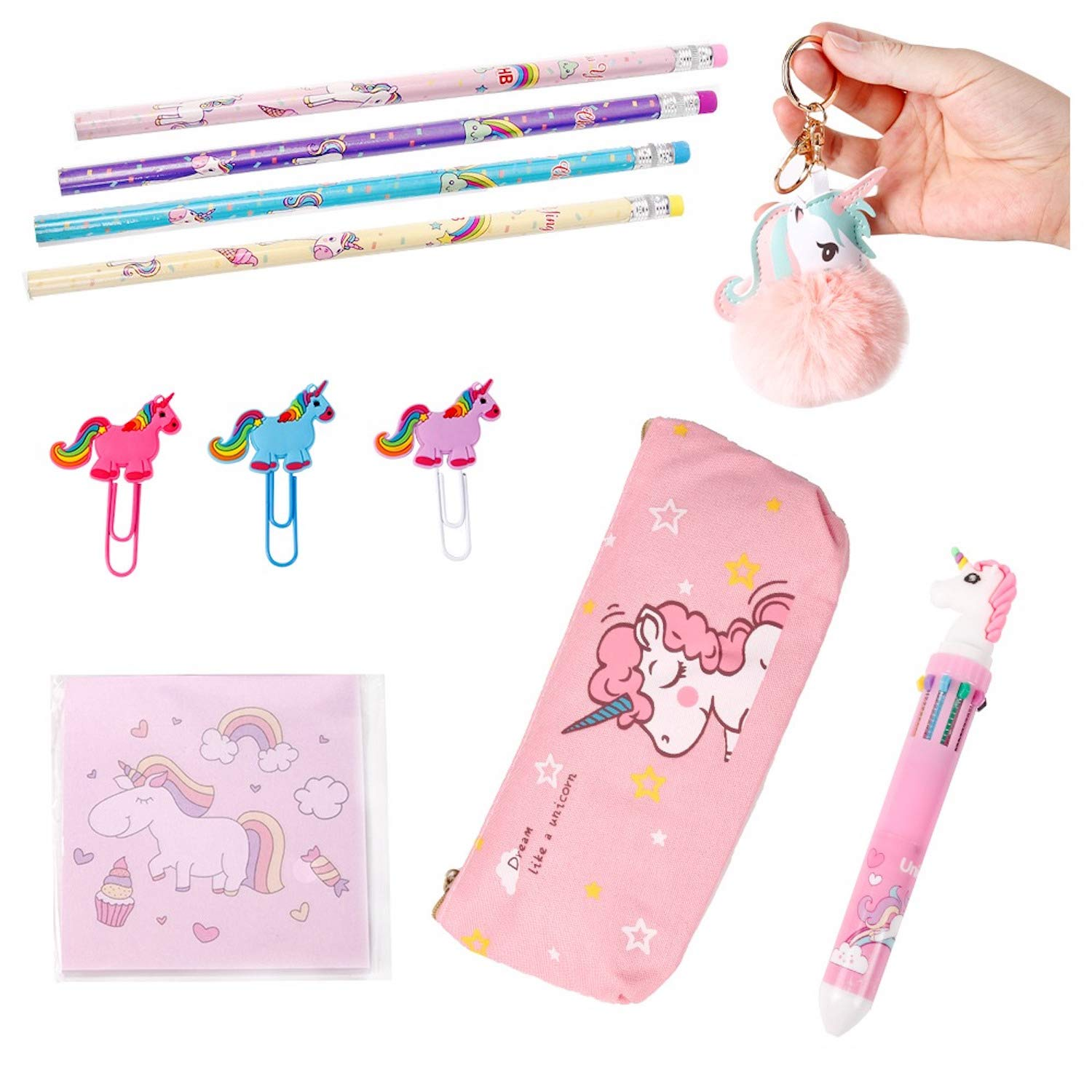 Unicorn Stationary Gift Set for Girls, Unicorn School Supplies with Unicorn Pom Pom Keychain, Unicorn Pen, Pencils, Stickers, Paper Clips, and Unicorn Pencil Case
