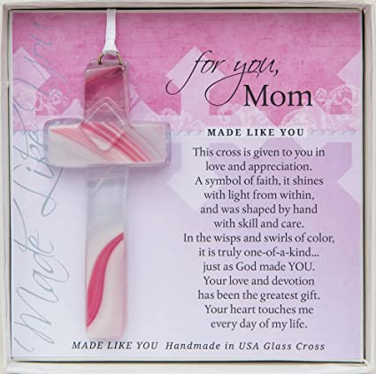 Handmade Glass Cross for Mother with Poem- Gift for Mom on Christmas, Mother's Day, Birthday best gifts for Christian moms