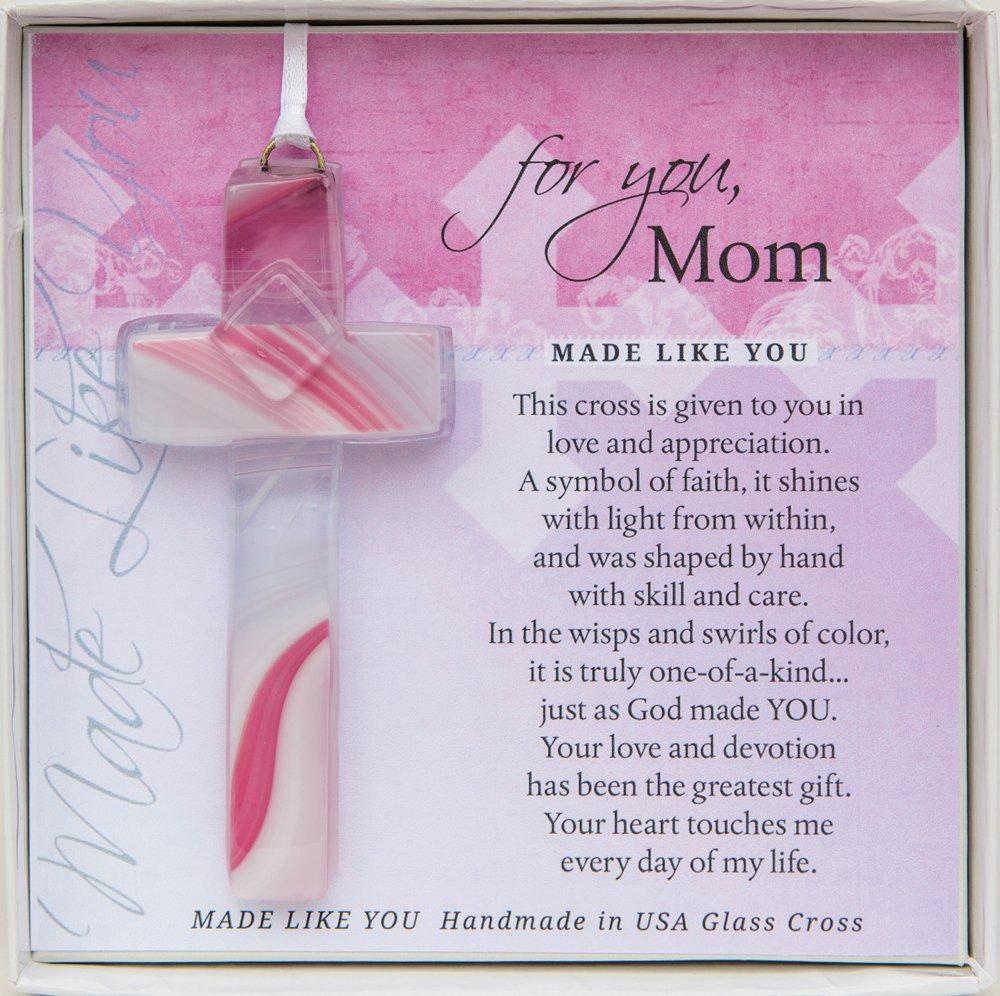 The Grandparent Gift Mom Made Like You Handmade Glass Cross for Mother