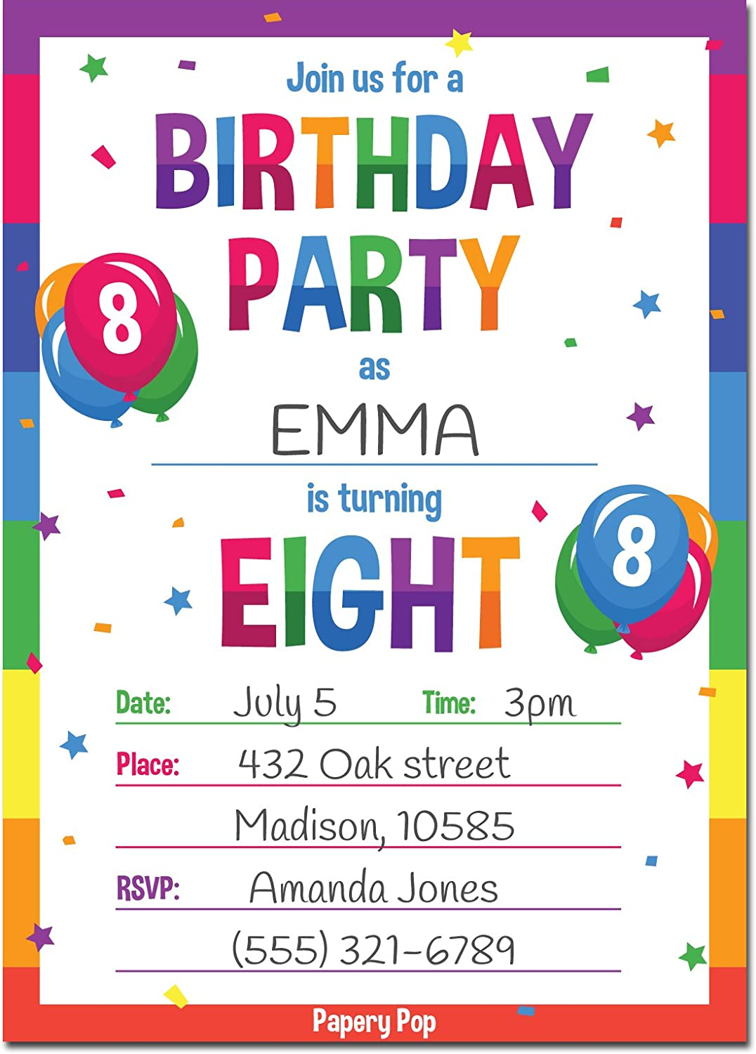 Amazon Papery Pop 8th Birthday Party Invitations With Envelopes 15 Count