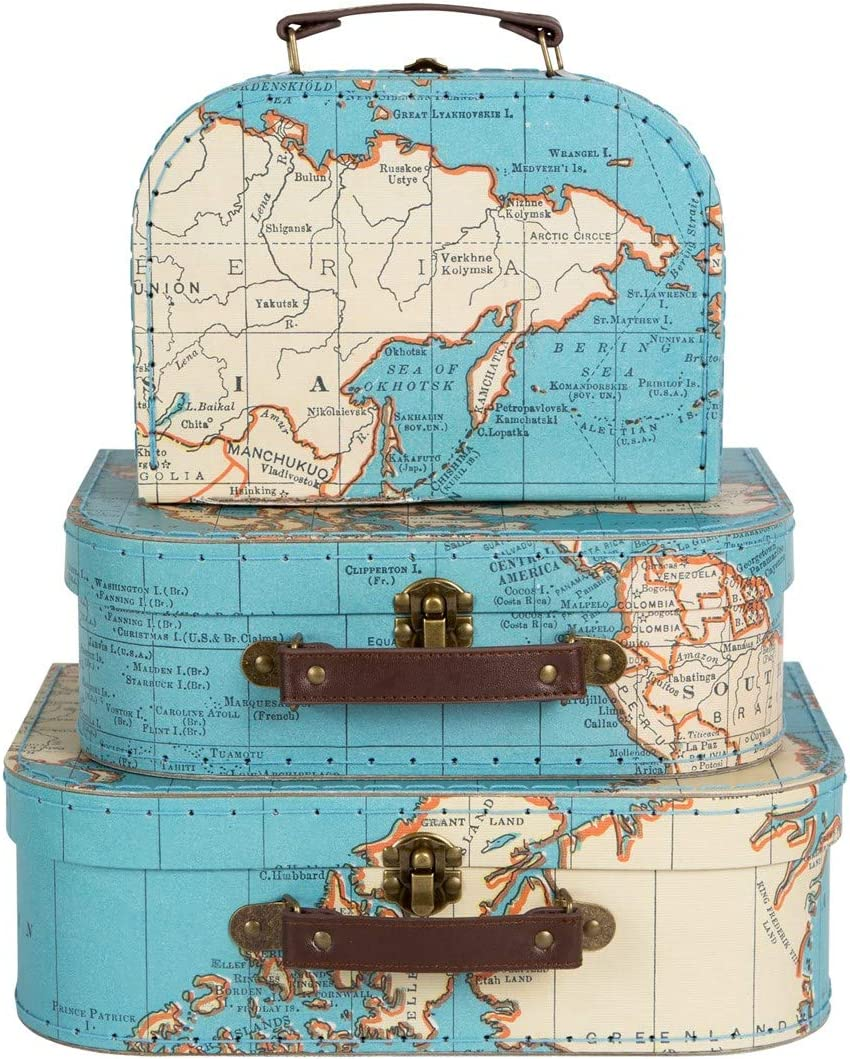 Sass and Belle SET OF 3 VINTAGE MAP SUITCASES