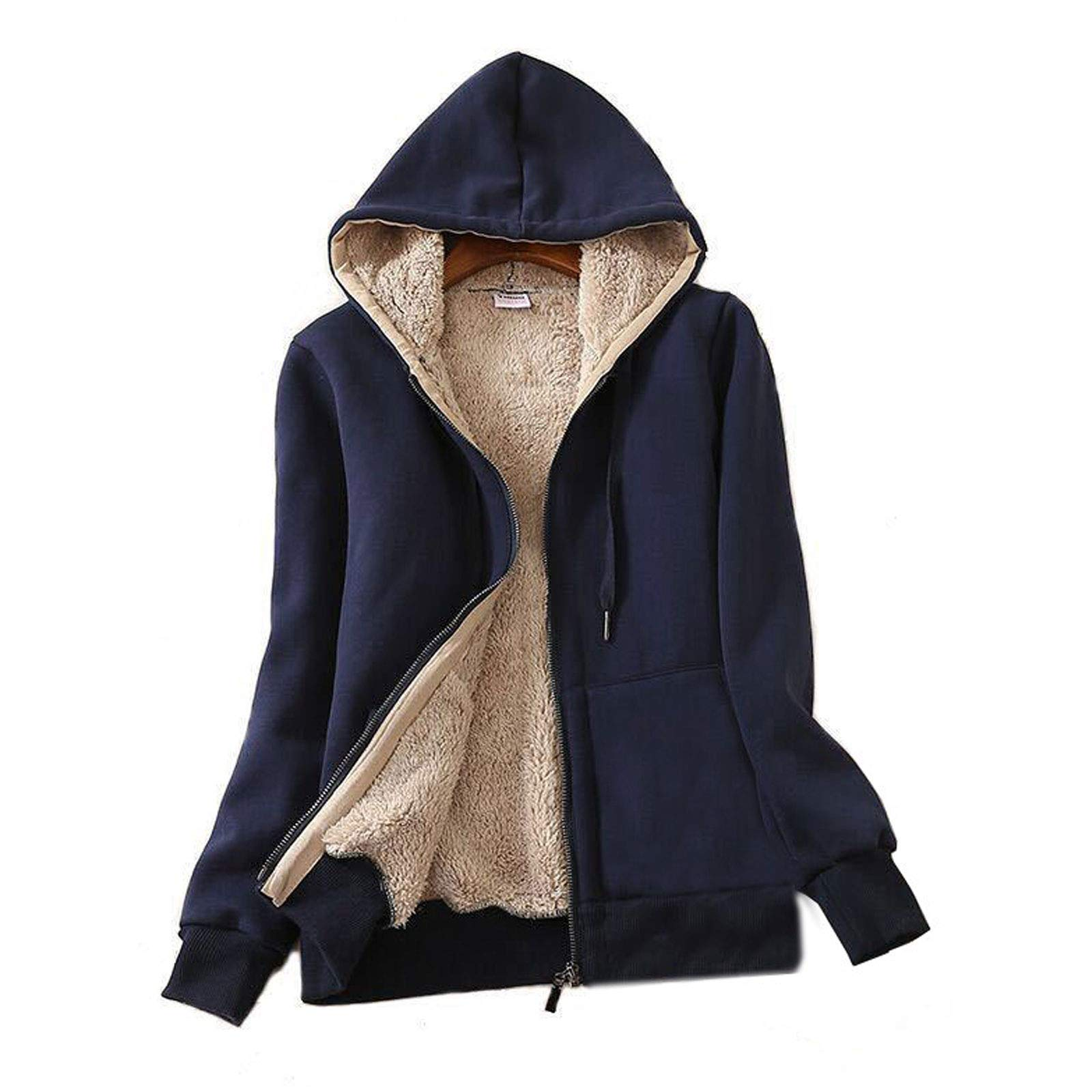 Flygo Womens Casual Winter Thick Fleece Lined Zip up Hooded Sweatshirt Jacket Coat (X-Large, Navy Blue) by Flygo
