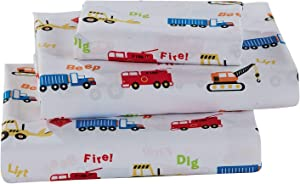 Better Home Style Multicolor Cranes Backhoes Construction Equipment Trucks Fire Engine Design for Kids/Boys 3 Piece Sheet Set with Pillowcase Flat and Fitted Sheets # Crane (Twin)
