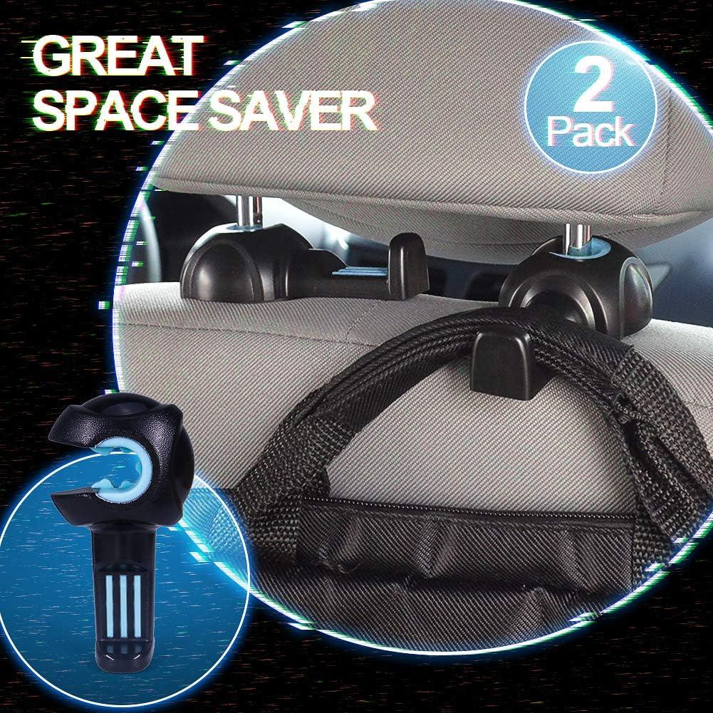 Biqing 2Pcs Car Seat Hooks,Universal Car Vehicle Back Seat Hidden Hook Car Vehicle Back Seat Headrest Hanger Holder Hook for Clothing//Shopping Bag//Grocery//Purse//Handbags//luggage