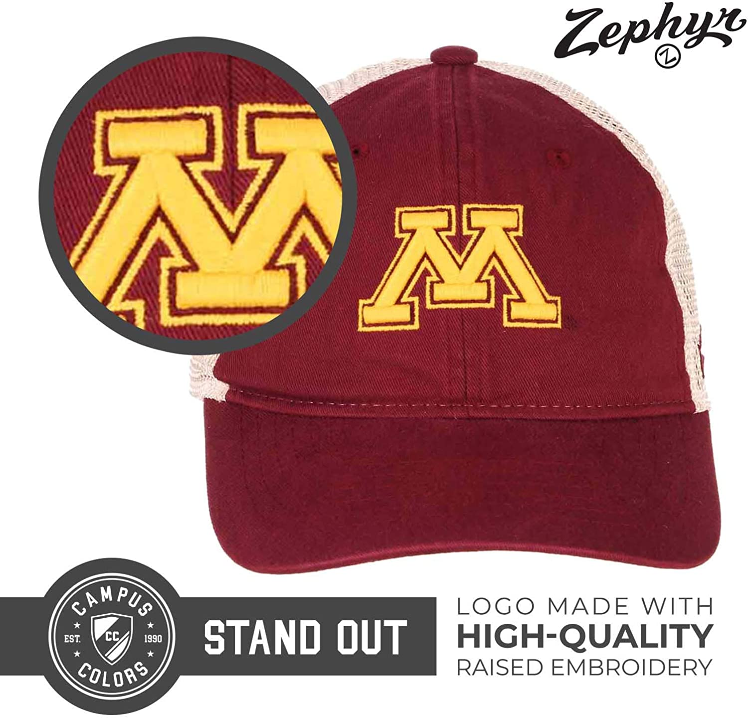 NCAA Zephyr Arizona State Sun Devils Mens University Relaxed Hat Adjustable Team Color//Stone