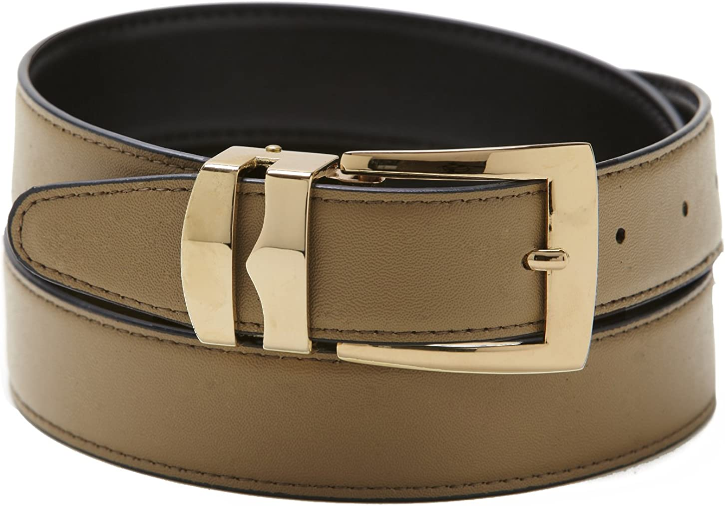 Reversible Belt Bonded Leather with Removable Gold-Tone Buckle TAUPE//Black
