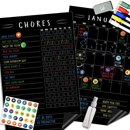 Magnetic Behavior Chalkboard Rewards Chore Chart Set – Multiple Kid Chore Chart System w/Reusable Monthly Calendar, Responsibility Magnets & Dry Erase ...