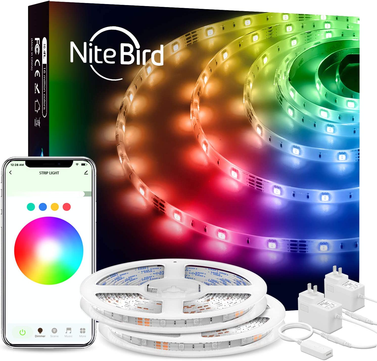 NiteBird Smart LED Strip Lights, 32.8ft WiFi Light Strips Works with Alexa Google Home, App Control, 16 Million Color Changing, Music Sync, Brighter 5050 LED for Bedroom Kitchen TV Party, 2pack 16.4ft