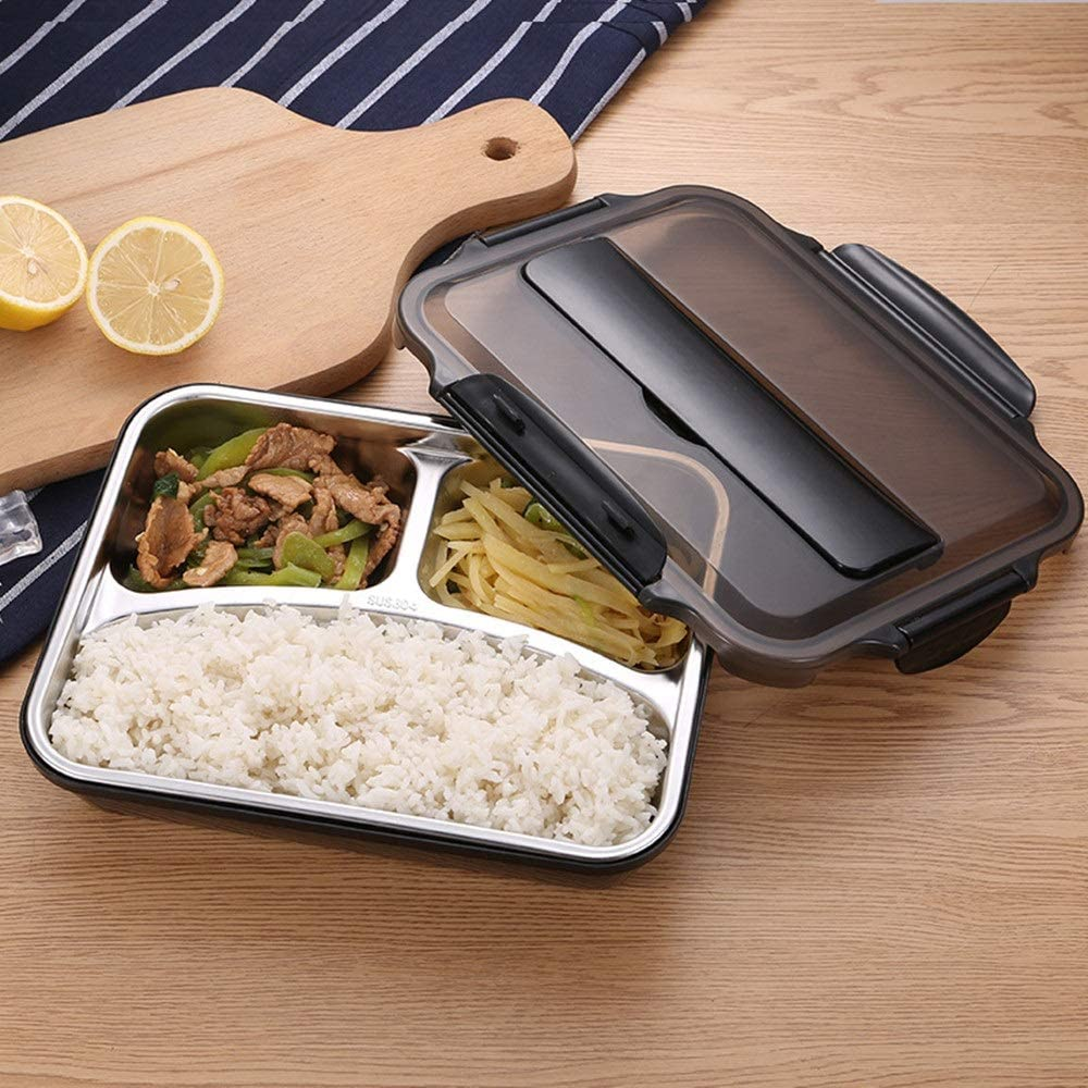 Bento Boxes 304 Stainless Steel Insulated Lunch Box Student Adult Lunch Box Fast Food Box Separation Plate With Compartment Lunch Box (Color : Black, Size : 5 grids)