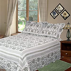 Patch Magic Wisteria Lattice Quilt Set with 2 Shams, King, Apple Green