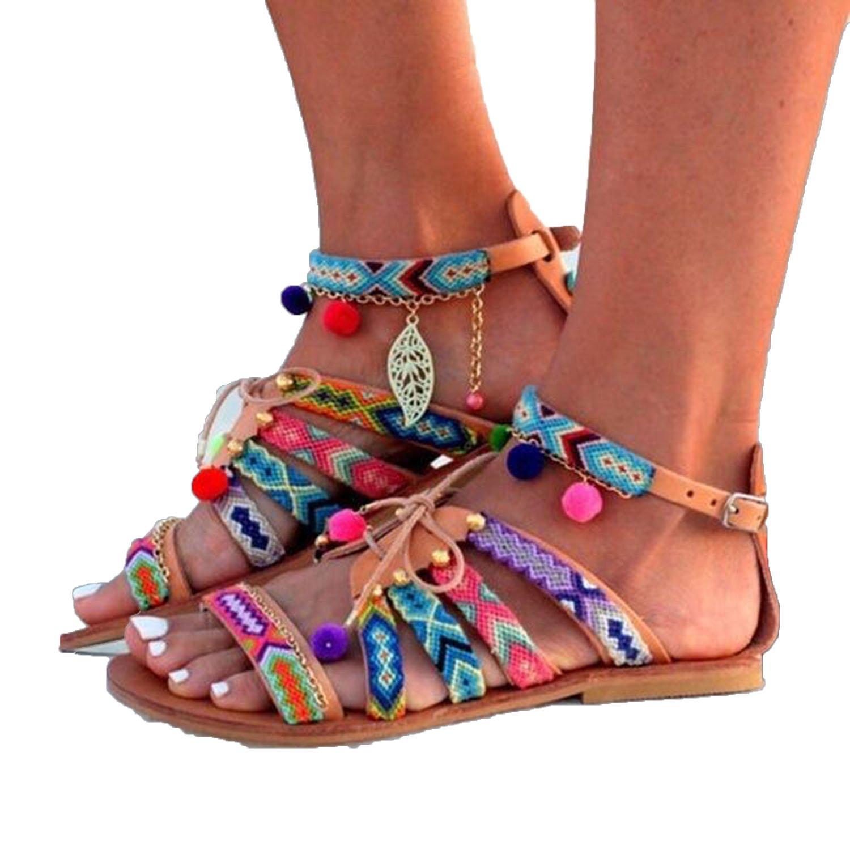 Plus Size 35-43 Bohemian Ethnic Summer Pompon Roman Gladiator Sandals Strappy Embroidered Flat Sandal B07DLT9WDR 5 B(M) US|Negro