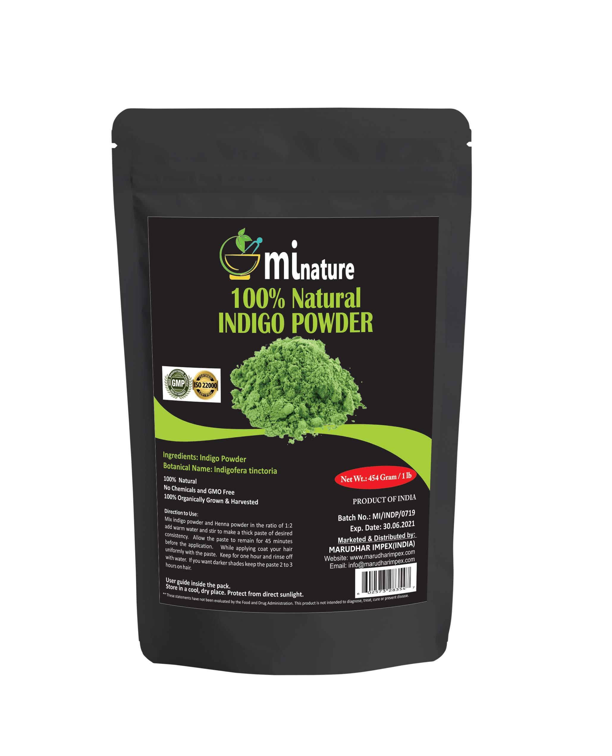 mi nature Indigo Powder -INDIGOFERA TINCTORIA,(100% NATURAL, ORGANICALLY GROWN) 1 LB (454 grams/16 ounces) RESEALABLE BAG by mi nature