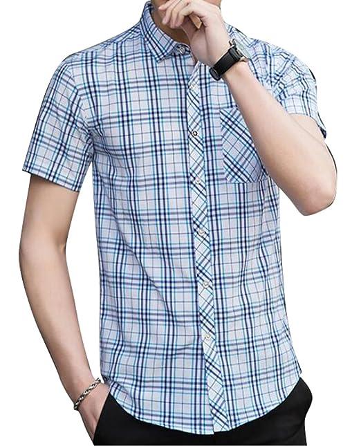 76ce8ea99ea XiaoTianXin-men clothes XTX Mens Summer Plaid Print Slim Fit Short Sleeve  Button Down Checkered Shirt at Amazon Men s Clothing store