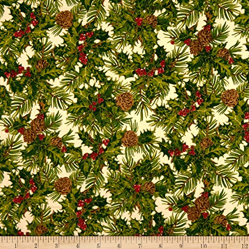 - Fabri-Quilt Holiday Editions Holly and Pine Cones Metallic Fabric by the Yard, Ivory/Multi