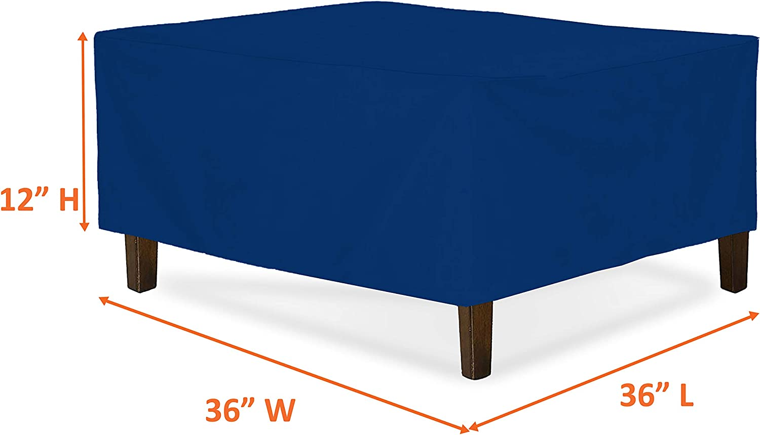 Waterproof /& Weather Resistant Patio Furniture Covers 30W x 30L x 18H, Grey Outdoor Ottoman Cover 18 Oz Square Ottoman Cover Heavy Duty Fabric with Drawstring for Snug fit