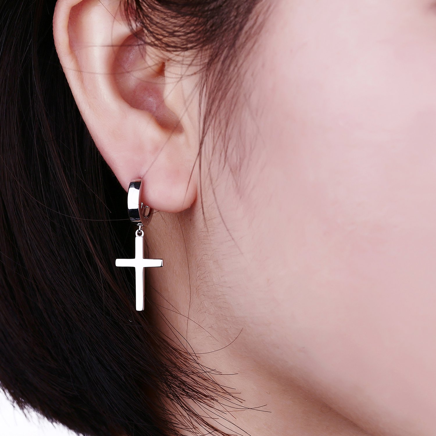 jiamiaoi Sterling Silver Cross Stud Earrings Fashion Cross Drop Dangle Earrings for Men and Women
