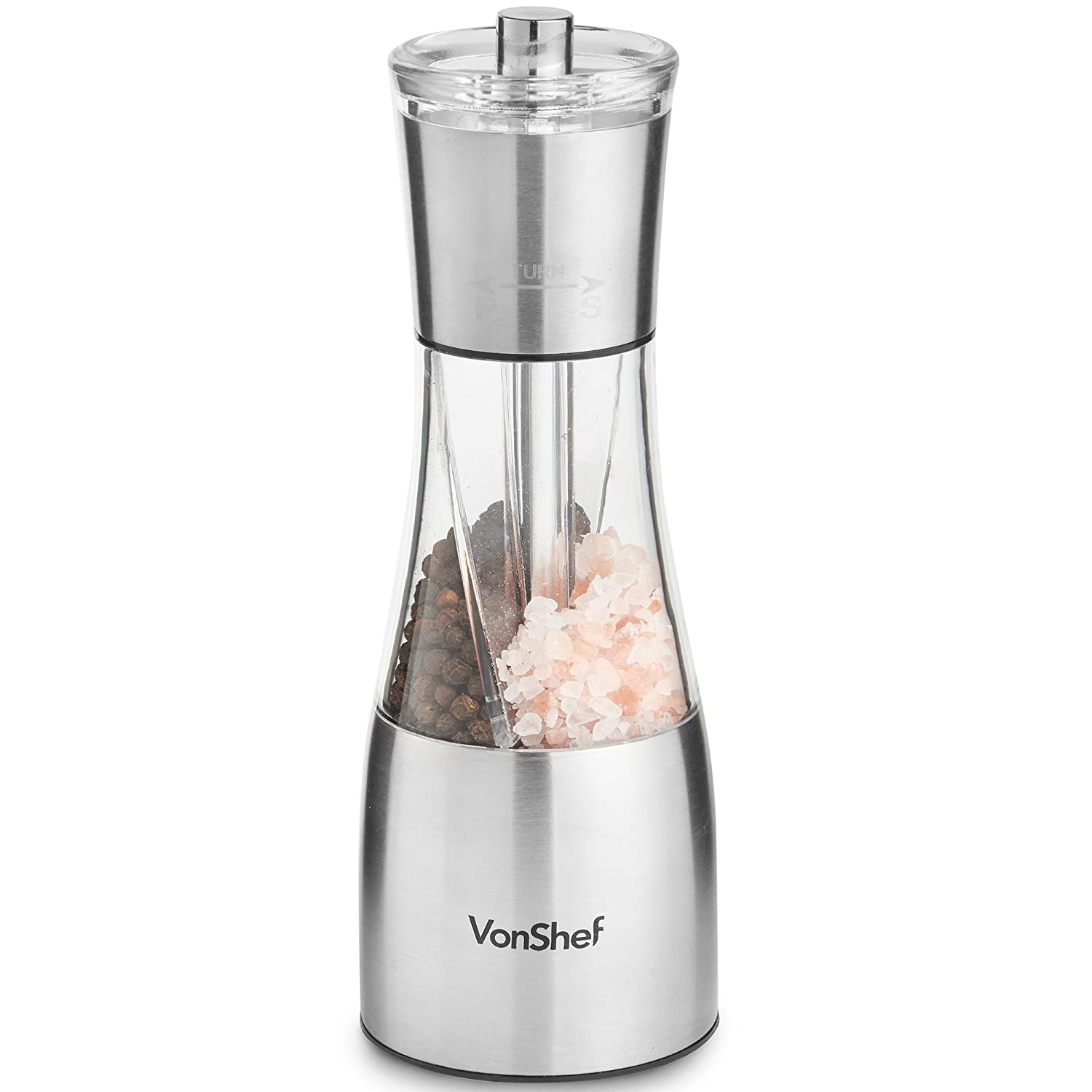 VonShef 2-in-1 Salt and Pepper Grinder Mill with Adjustable Coarseness Control and Easy Refill - Stainless Steel