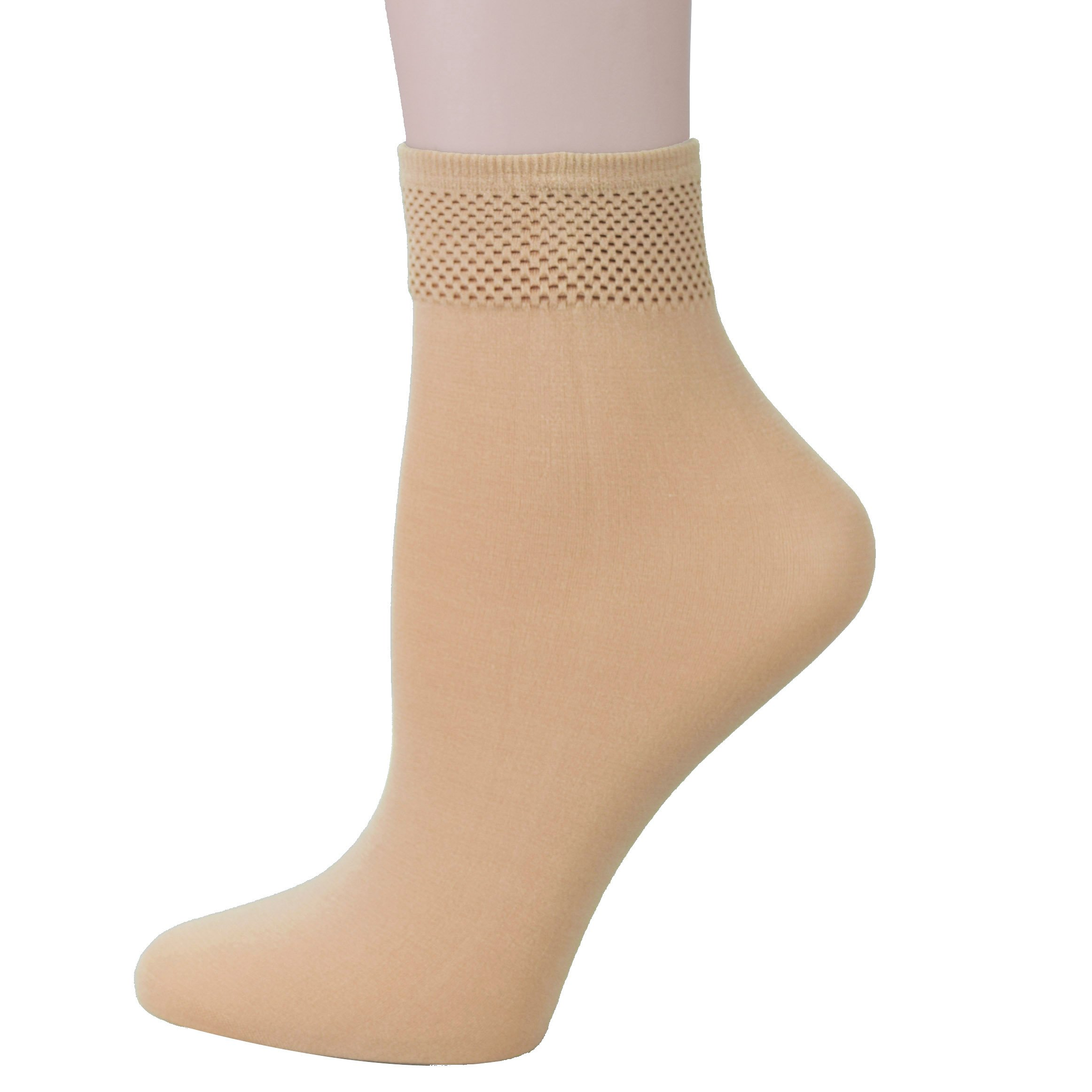 Fitu Women's 10 Pairs Modal Opaque Ankle High Tights Hosiery Socks (Beige) 9-11 Beige
