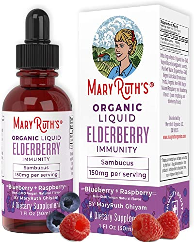 Organic Elderberry Syrup Double Strength Black Sambucus Liquid
