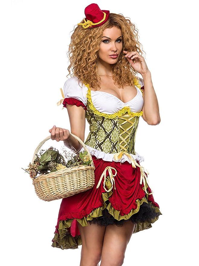Sexy Medieval Magd para mujer Disfraz Verde Rojo Blanco: Amazon.es ...