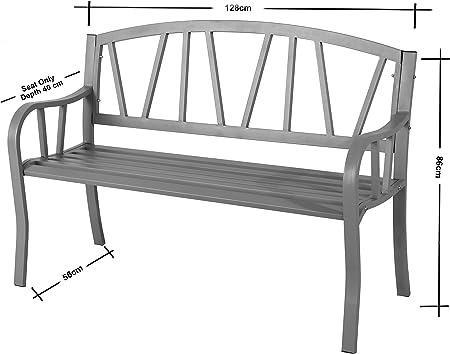 Banco de jardín de 3 plazas de acero resistente a la intemperie: Amazon.es: Jardín