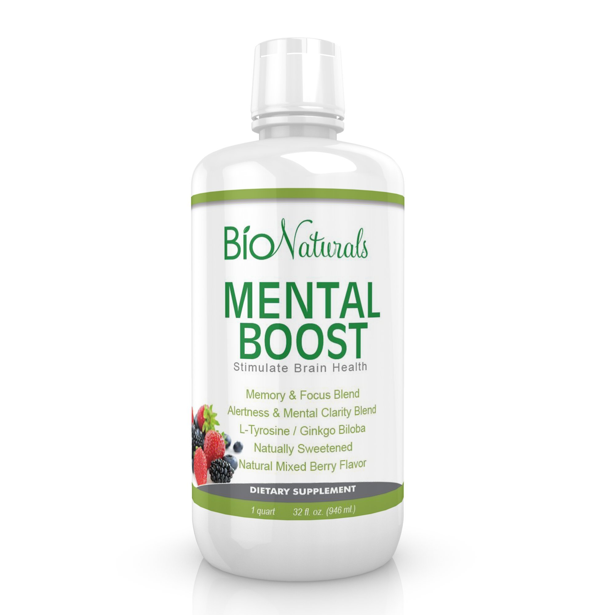 Mental Boost Liquid Nootropic Supplement - Enhance Brain Performance with Increased Memory, Alertness, Clarity & Focus - Contains Ginkgo Biloba, Huperzine-A, DMAE & More - 32 fl oz