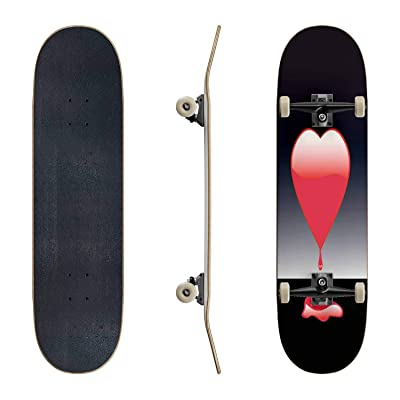 EFTOWEL Skateboards Bleeding Heart Lonely Stock Illustrations Classic Concave Skateboard Cool Stuff Teen Gifts Longboard Extreme Sports for Beginners and Professionals : Sports & Outdoors
