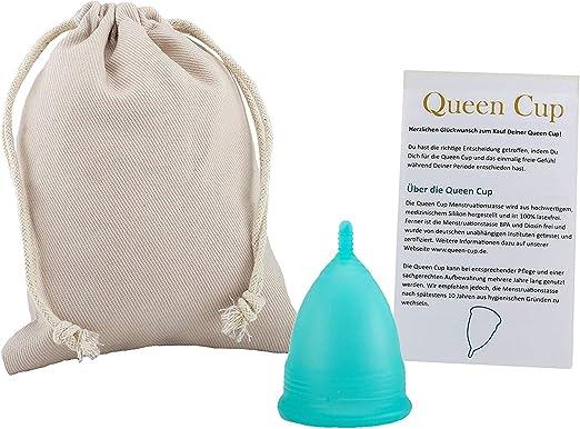 Queen Cup - Copa menstrual de silicona médica 100%, certificado alemán, incluye bolsa e instrucciones (2 unidades)