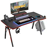 DESINO Gaming Desk 40 inch PC Computer Desk, Home Office Desk Table Gamer Workstation with Cup Holder and Headphone Hook, Bla