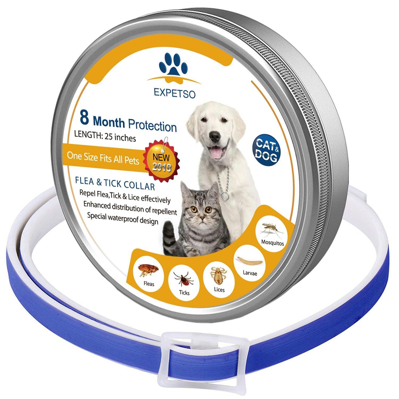 EXPETSO 2018 Fórmula Mejorada 8 Meses de Protección Flea & Tick Collar para Perros y Gatos 60 cm Longitud Ajustable se Adapta a la Mayoría de Mascotas ...