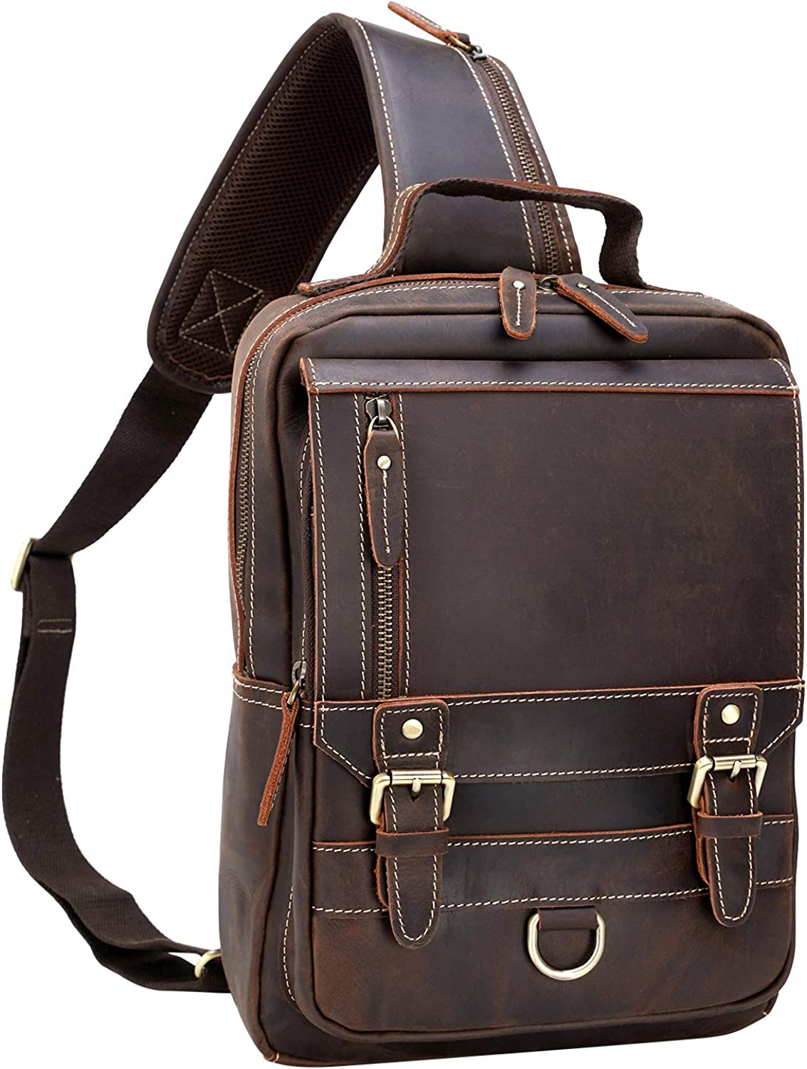 Texbo Thick Full Grain Leather Sling Bag Shoulder Backpack Travel Rucksack Casual Crossbody Bag