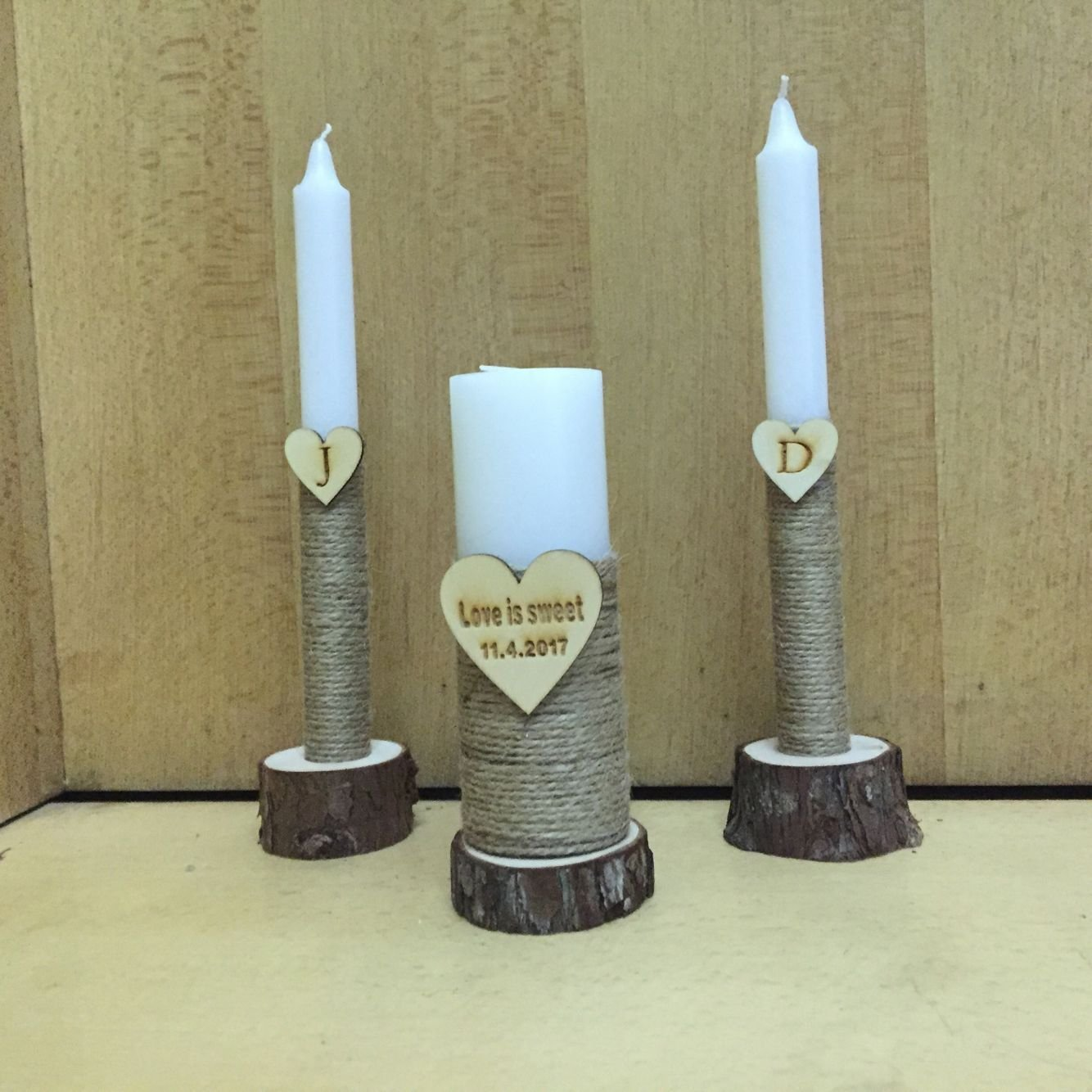 Love is Sweet Unity Candles, Custom Wedding Candle Set of 3 Candles for Western Wedding Decor by sendinglovehandmade