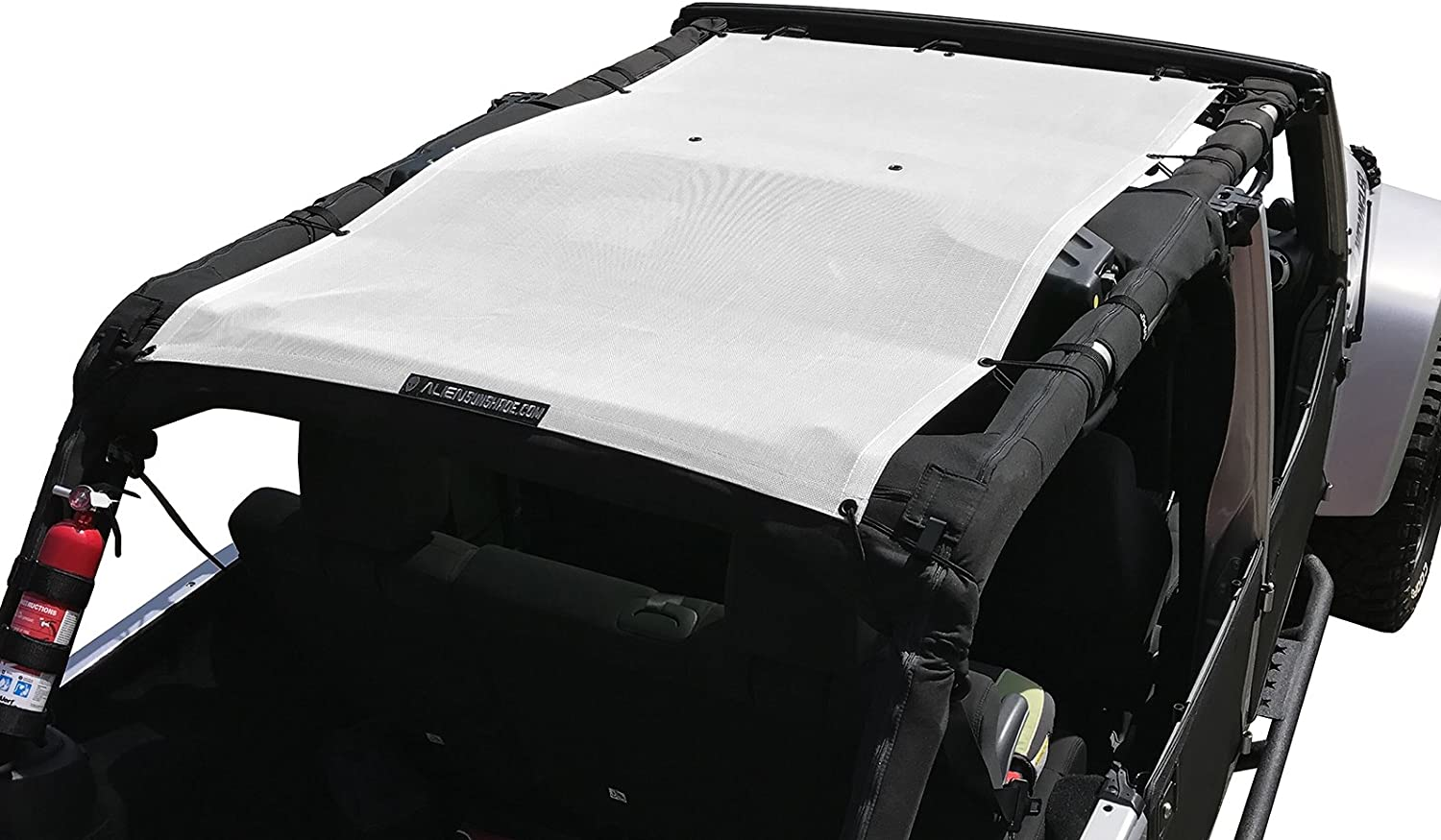 ALIEN SUNSHADE Jeep Wrangler Mesh Shade Top Cover with 10 Year Warranty Provides UV Protection for Your 4-Door JKU Krush Orange 2007-2017