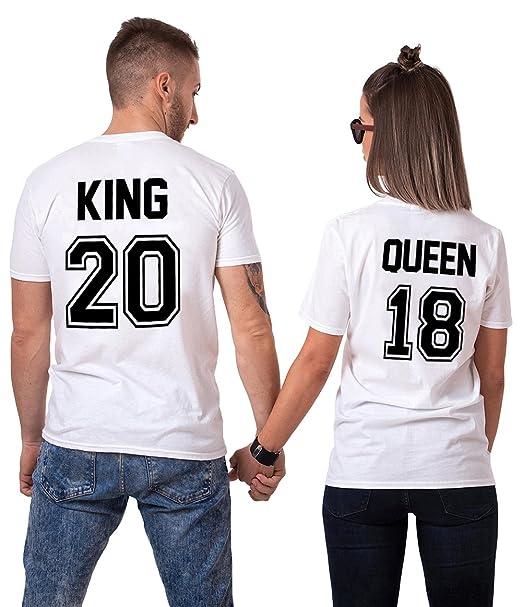 Pareja Camiseta King Queen Shirt 100% Algodón 2 Piezas T-Shirt Impresión de Manga Corta Para Mujer Hombre: Amazon.es: Ropa y accesorios