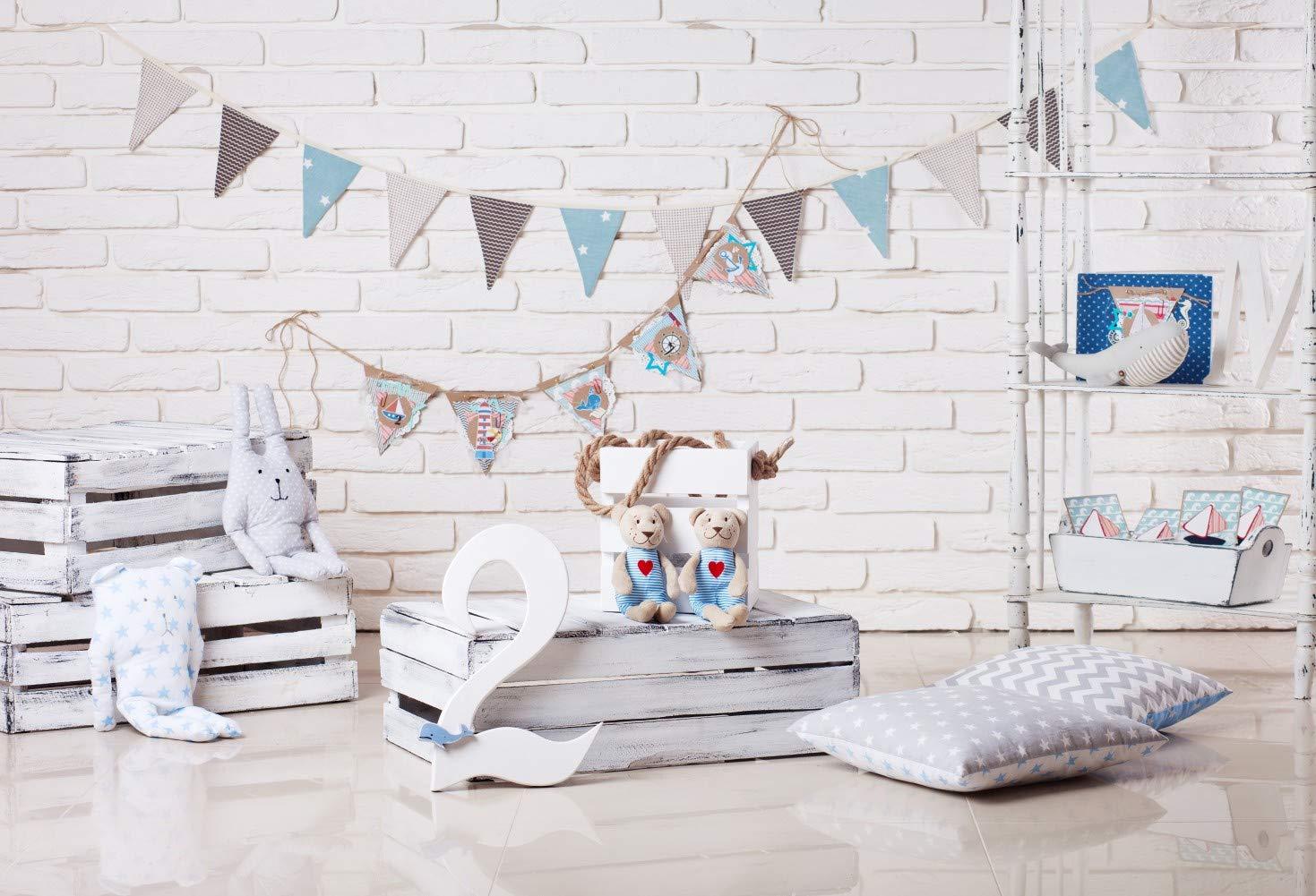 7x5フィート 赤ちゃん 2歳 誕生日 海 旅行 スタイル テーマ レンガ グレー 旗 壁 木製棚 絵 布 カスタマイズ 写真 背景 デジタルプリント 背景 写真 スタジオ 小道具   B07PQBL497
