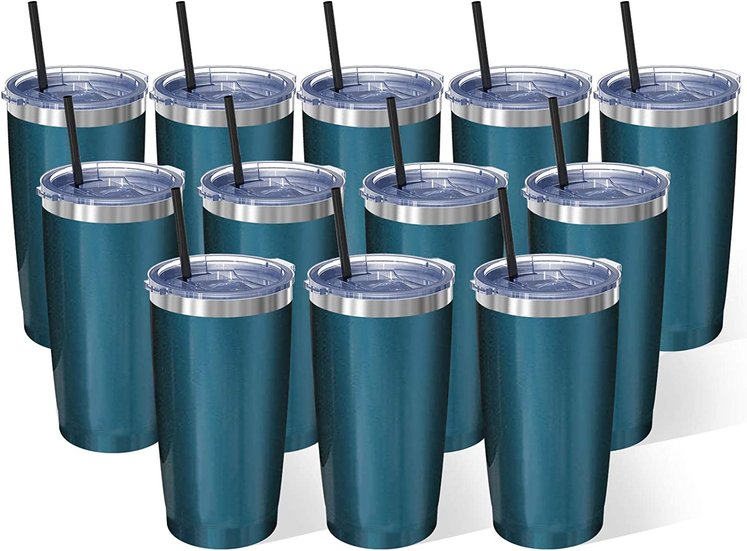 Bastwe 20oz Insulated Tumbler with Lid & Straw, Stainless Steel Coffee Cup, Double Wall Vacuum Insulated Travel Coffee Mug with Splash Proof Sliding Lid for Home & Office (12 Pack, Blue Green)