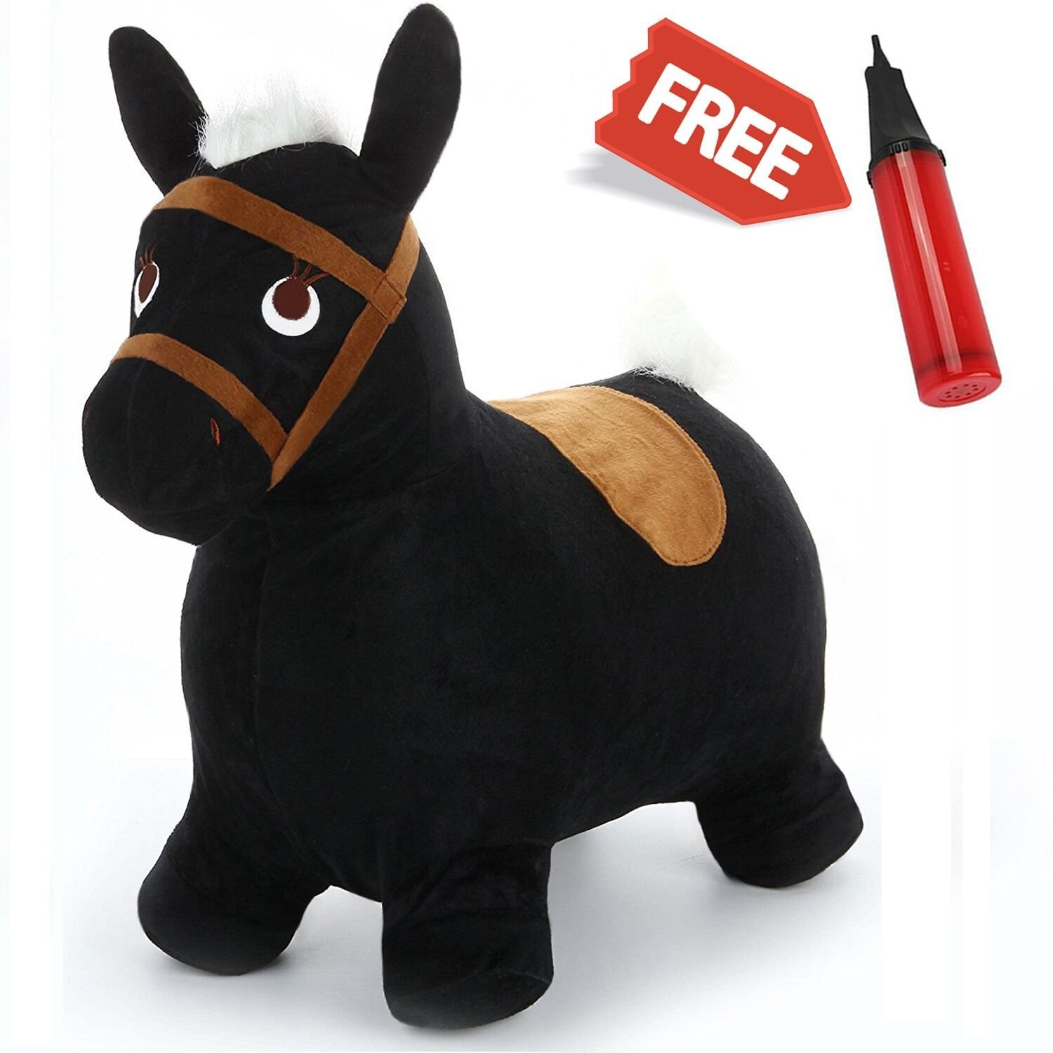 iPlay, iLearn Bouncy Horse Ride On Toy, Black Plush Hopping Inflatable Hopper, Pump Free Outdoor Animal Jumping, Balance Games Toys Gift For Ages 2, 3, 4, 5 Year Olds Kids Toddlers Boys Girls