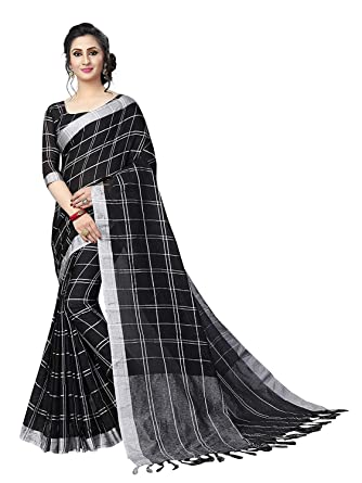 8e939024e4 KJP VILLA Women's Cotton Silk Saree with Blouse Piece (KRISHAN GREEN T,  Black)