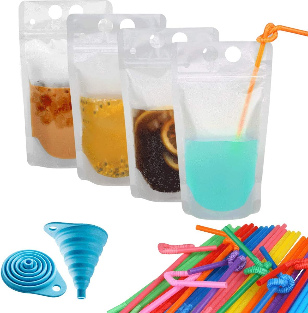 100 Pcs Zipper Plastic Pouches Drink Bags,Heavy Duty Hand-Held Translucent Frosted Reclosable Stand-up Bag 2.4