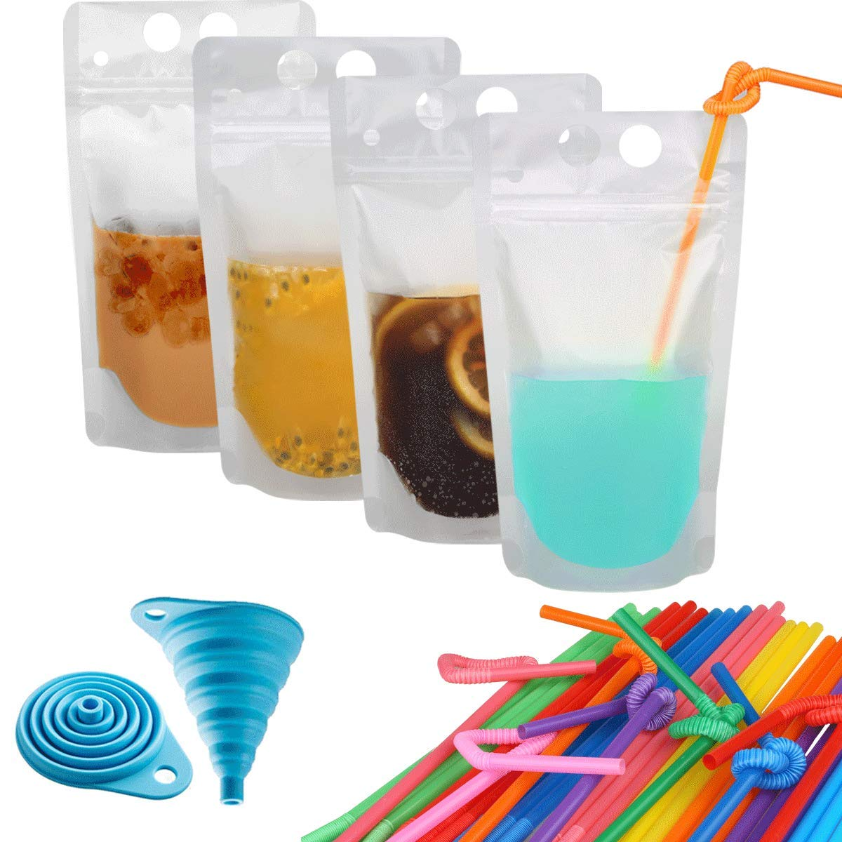 "100 Pcs Zipper Plastic Pouches Drink Bags,Heavy Duty Hand-Held Translucent Frosted Reclosable Stand-up Bag 2.4"" Bottom Gusset with 100pcs Straws & Funnel Included"
