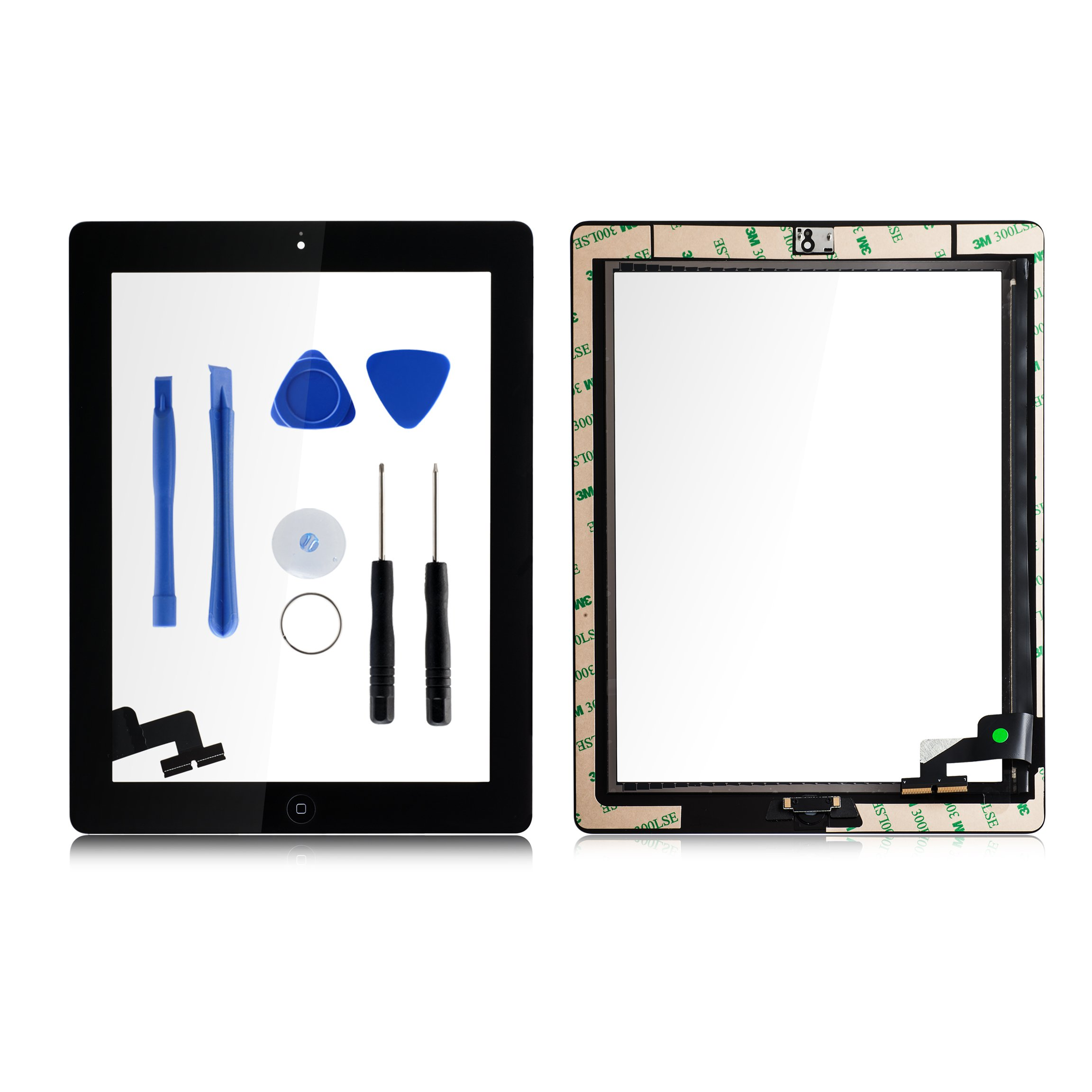 Toontor for iPad 2 Screen Replacement Assembly, Touch Glass Screen Digitizer Parts with Home Button & Camera Holder + Free Tool Kits + Adhesive Tape Pre-attached (Black)