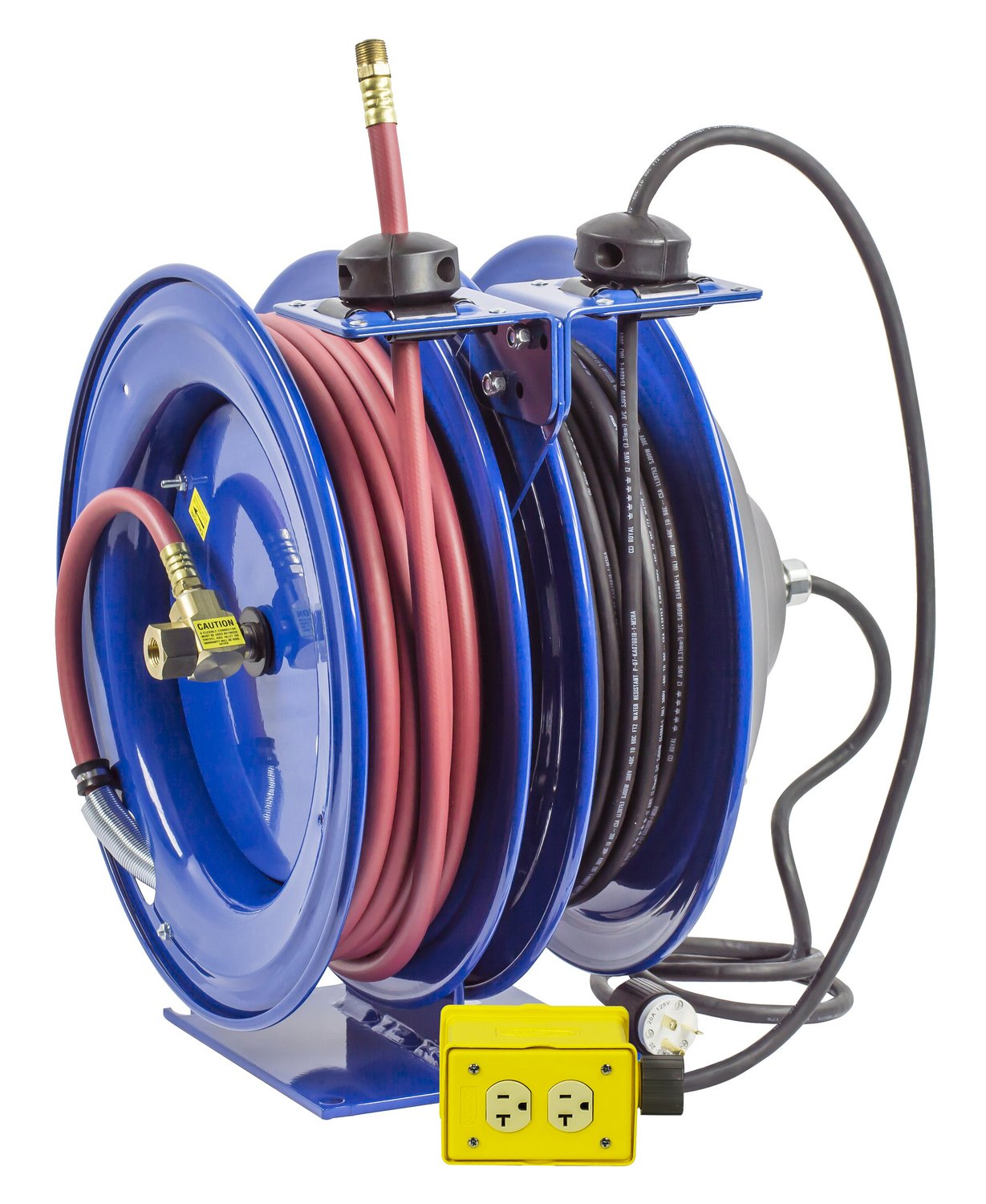 Coxreels C-L350-5012-B Combo Air and Electric Hose Reel with Quad Outlet Attachment, 3/8'' Hose ID, 50' Length by Coxreels (Image #1)